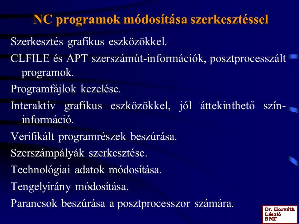 NC programok módosítása szerkesztéssel Szerkesztés grafikus eszközökkel.