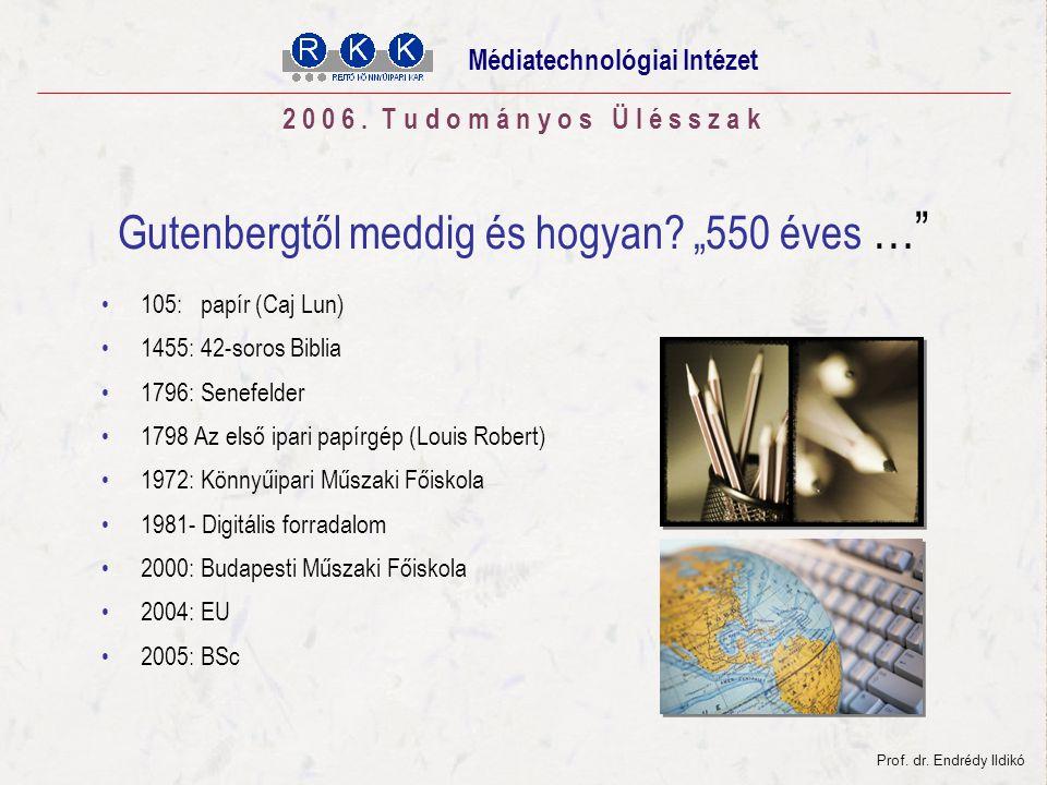 Tudományos Ülésszak 2006. november 03. Gutenbergtől meddig és hogyan.