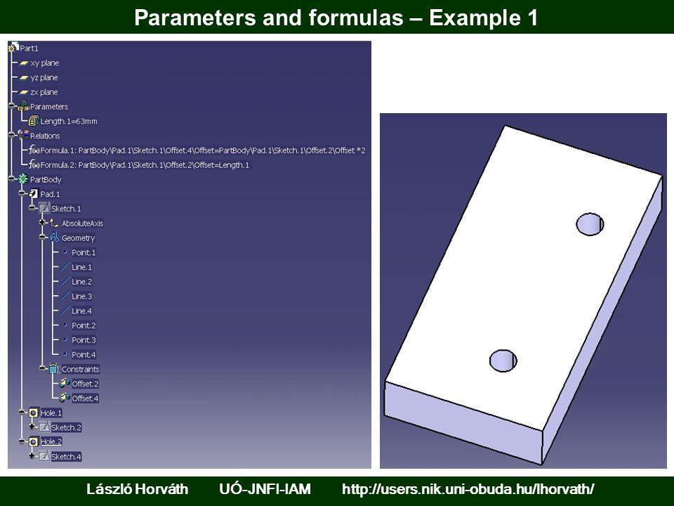 Parameters and formulas – Example 1 László Horváth UÓ-JNFI-IAM http://users.nik.uni-obuda.hu/lhorvath/