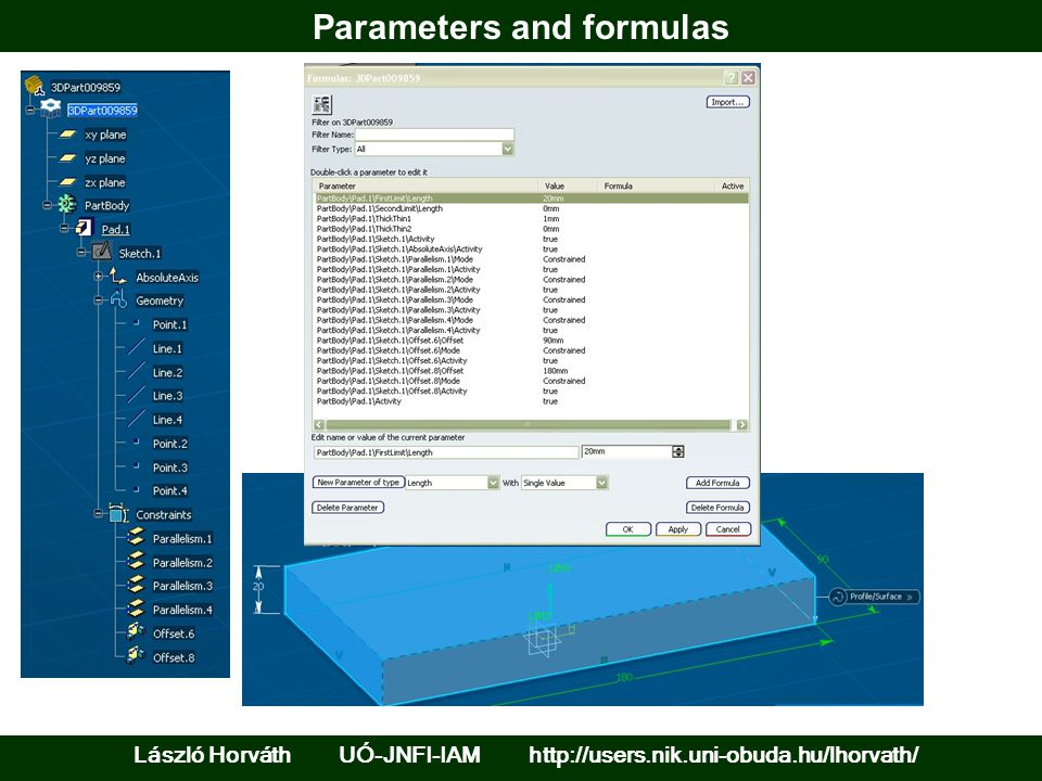 Parameters and formulas László Horváth UÓ-JNFI-IAM http://users.nik.uni-obuda.hu/lhorvath/
