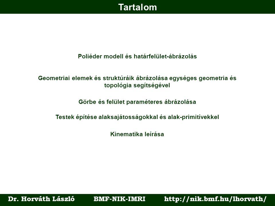 Tartalom Dr. Horváth László BMF-NIK-IMRI http://nik.bmf.hu/lhorvath/ Poliéder modell és határfelület-ábrázolás Geometriai elemek és struktúráik ábrázo