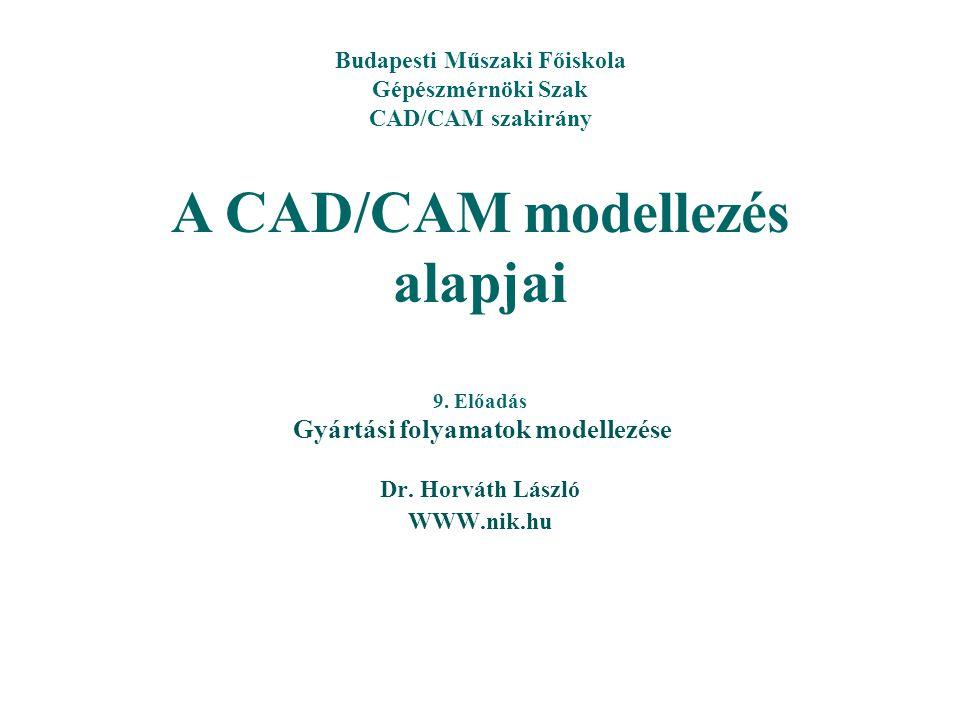 9. Előadás Gyártási folyamatok modellezése Budapesti Műszaki Főiskola Gépészmérnöki Szak CAD/CAM szakirány A CAD/CAM modellezés alapjai Dr. Horváth Lá