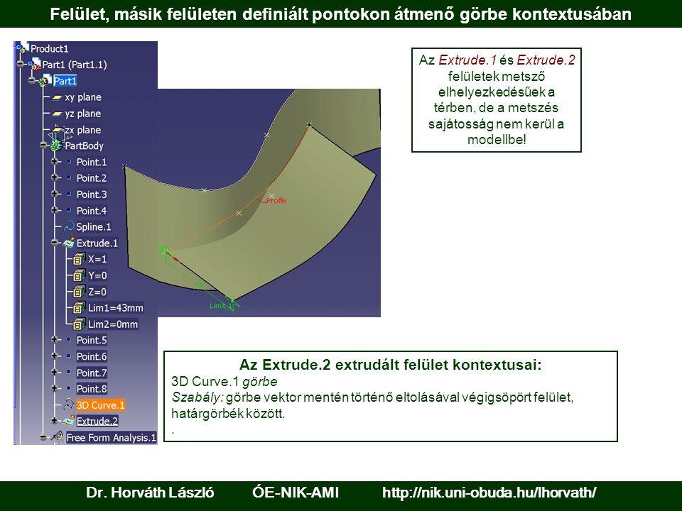 Felület, másik felületen definiált pontokon átmenő görbe kontextusában Dr.