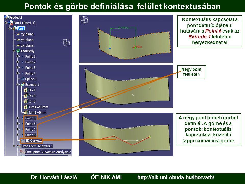 Pontok és görbe definiálása felület kontextusában Dr.