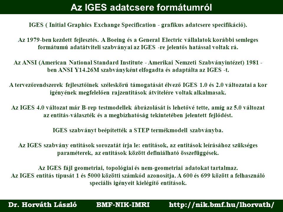 Az IGES adatcsere formátumról Dr. Horváth László BMF-NIK-IMRI http://nik.bmf.hu/lhorvath/ IGES ( Initial Graphics Exchange Specification - grafikus ad