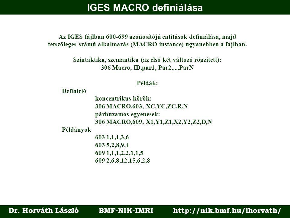 IGES MACRO definiálása Dr. Horváth László BMF-NIK-IMRI http://nik.bmf.hu/lhorvath/ Az IGES fájlban 600-699 azonosítójú entitások definiálása, majd tet