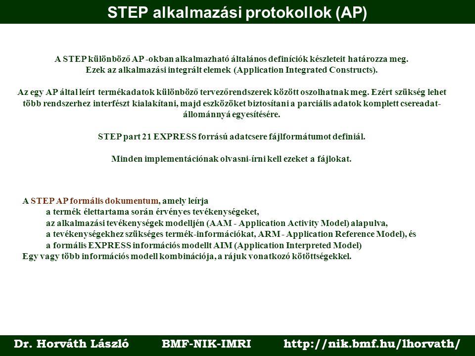 STEP alkalmazási protokollok (AP) Dr. Horváth László BMF-NIK-IMRI http://nik.bmf.hu/lhorvath/ A STEP különböző AP -okban alkalmazható általános definí