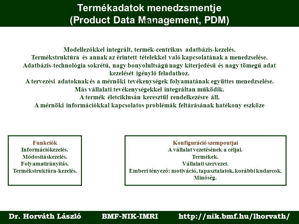 Termékadatok menedzsmentje (Product Data Management, PDM) Dr. Horváth László BMF-NIK-IMRI http://nik.bmf.hu/lhorvath/ (PDM) Modellezőkkel integrált, t