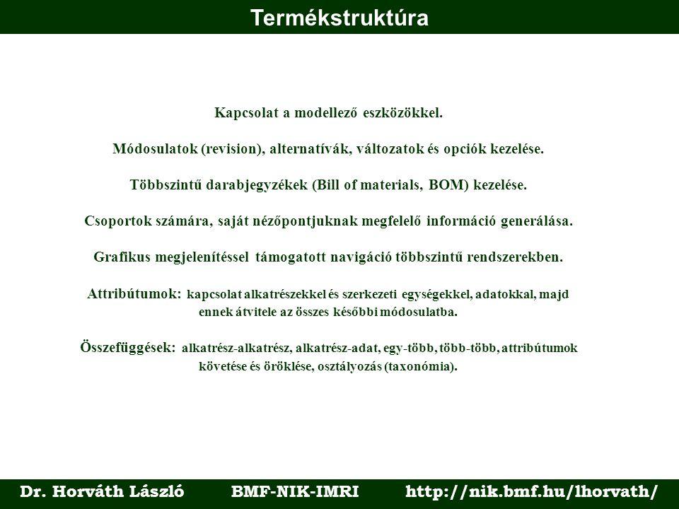 Termékstruktúra Dr. Horváth László BMF-NIK-IMRI http://nik.bmf.hu/lhorvath/ Kapcsolat a modellező eszközökkel. Módosulatok (revision), alternatívák, v