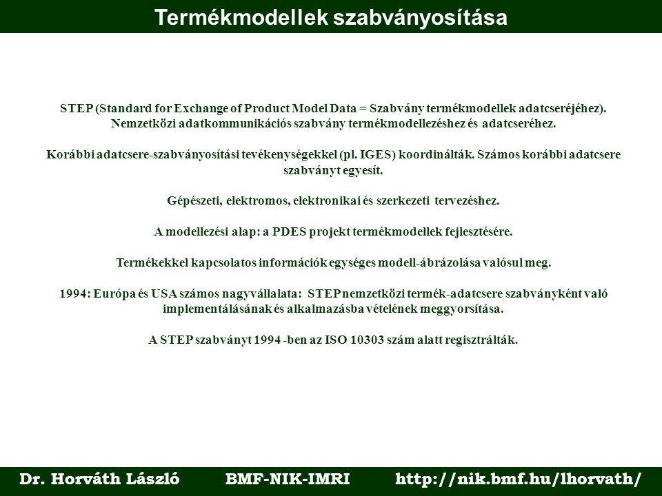 Termékmodellek szabványosítása Dr. Horváth László BMF-NIK-IMRI http://nik.bmf.hu/lhorvath/ STEP (Standard for Exchange of Product Model Data = Szabván