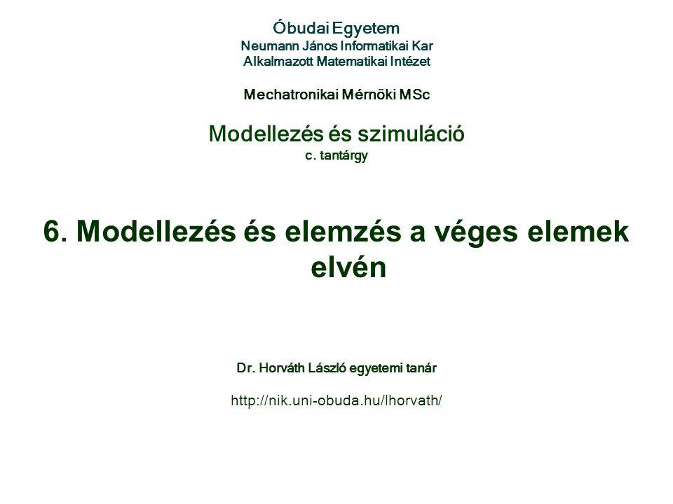 Modellezés és szimuláció c. tantárgy Óbudai Egyetem Neumann János Informatikai Kar Alkalmazott Matematikai Intézet Mechatronikai Mérnöki MSc 6. Modell