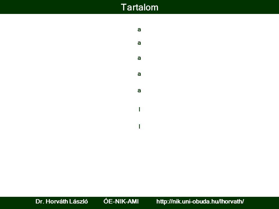 Tartalom a Dr. Horváth László ÓE-NIK-AMI http://nik.uni-obuda.hu/lhorvath/ a a l a a l