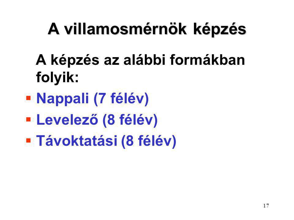 17 A villamosmérnök képzés A képzés az alábbi formákban folyik:  Nappali (7 félév)  Levelező (8 félév)  Távoktatási (8 félév)