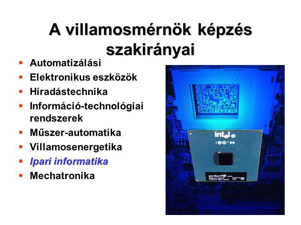 26 A villamosmérnök képzés szakirányai  Automatizálási  Elektronikus eszközök  Híradástechnika  Információ-technológiai rendszerek  Műszer-automa