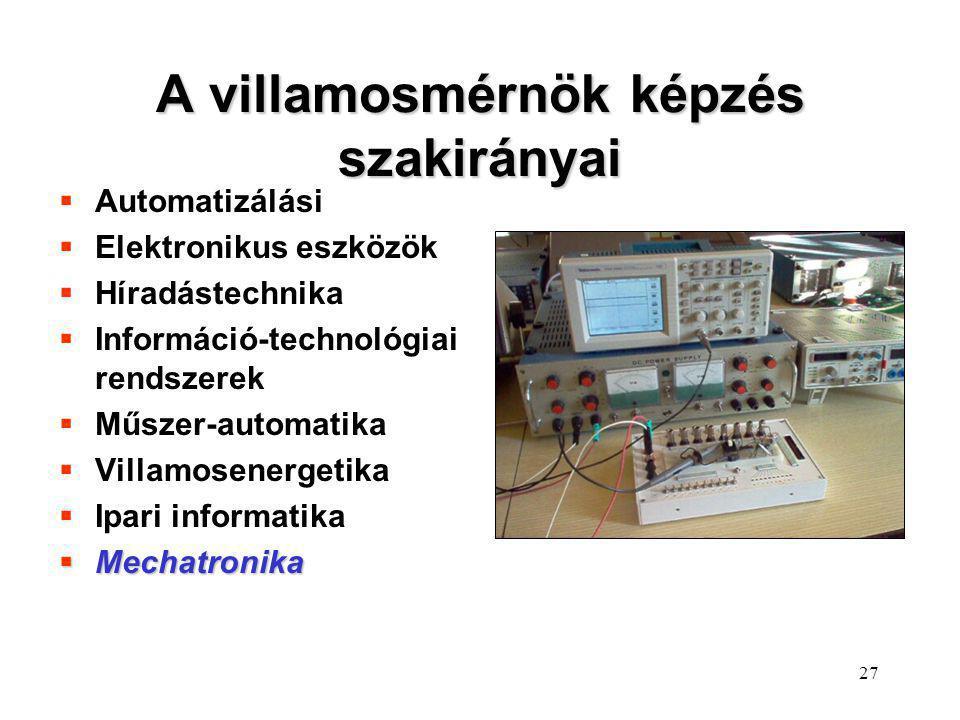 27 A villamosmérnök képzés szakirányai  Automatizálási  Elektronikus eszközök  Híradástechnika  Információ-technológiai rendszerek  Műszer-automa