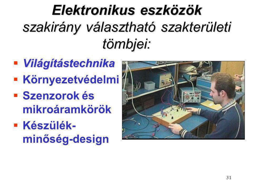 31 Elektronikus eszközök szakirány választható szakterületi tömbjei:  Világítástechnika  Környezetvédelmi  Szenzorok és mikroáramkörök  Készülék-