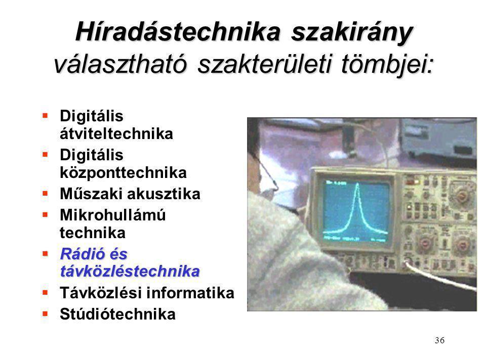 36 Híradástechnika szakirány választható szakterületi tömbjei:  Digitális átviteltechnika  Digitális központtechnika  Műszaki akusztika  Mikrohull