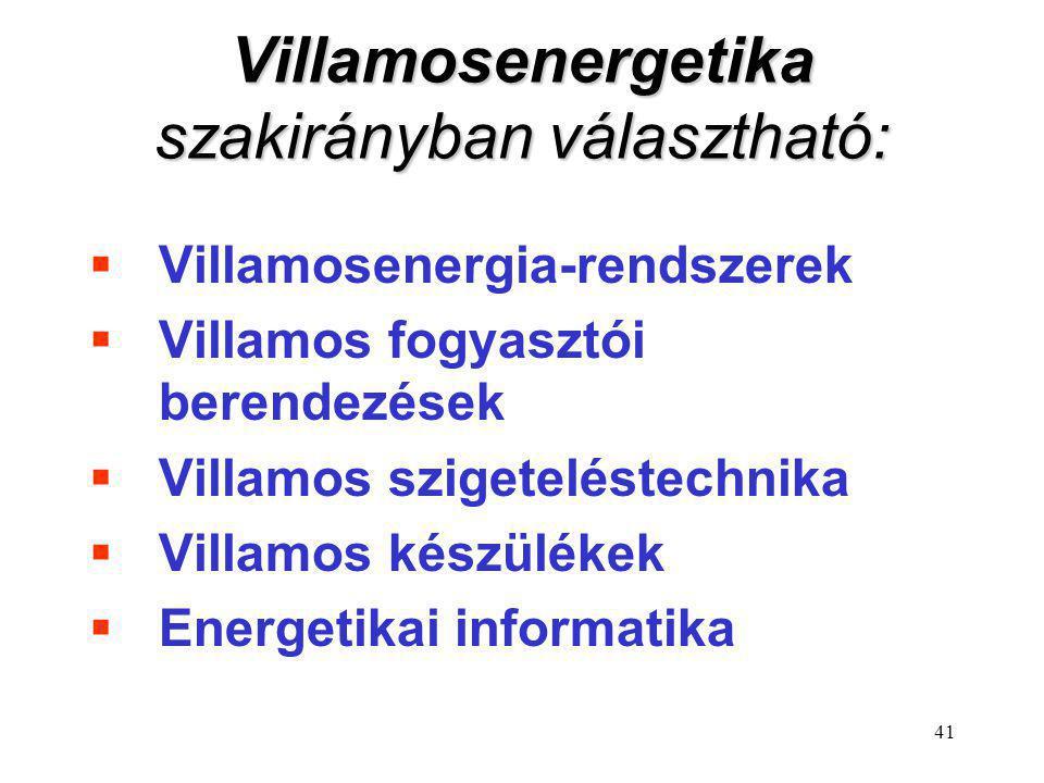 41 Villamosenergetika szakirányban választható:  Villamosenergia-rendszerek  Villamos fogyasztói berendezések  Villamos szigeteléstechnika  Villam