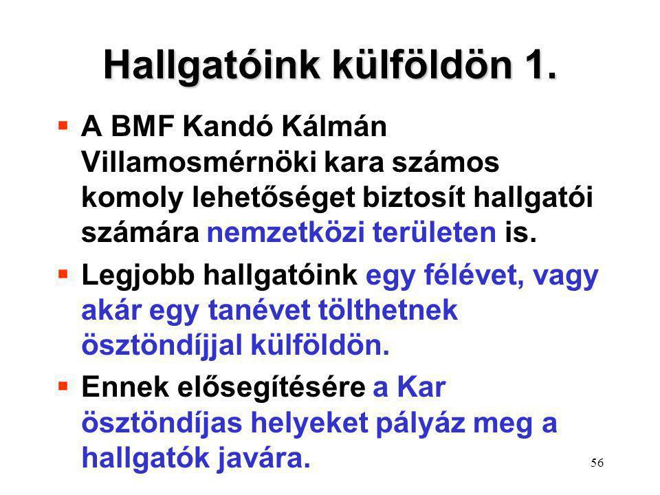 56 Hallgatóink külföldön 1.  A BMF Kandó Kálmán Villamosmérnöki kara számos komoly lehetőséget biztosít hallgatói számára nemzetközi területen is. 