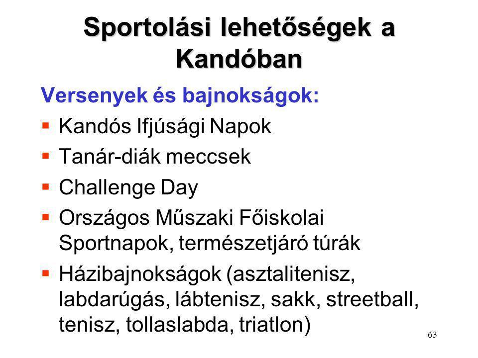 63 Sportolási lehetőségek a Kandóban Versenyek és bajnokságok:  Kandós Ifjúsági Napok  Tanár-diák meccsek  Challenge Day  Országos Műszaki Főiskol