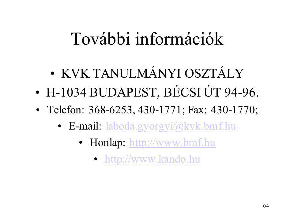 64 További információk KVK TANULMÁNYI OSZTÁLY H-1034 BUDAPEST, BÉCSI ÚT 94-96. Telefon: 368-6253, 430-1771; Fax: 430-1770; E-mail: laboda.gyorgyi@kvk.
