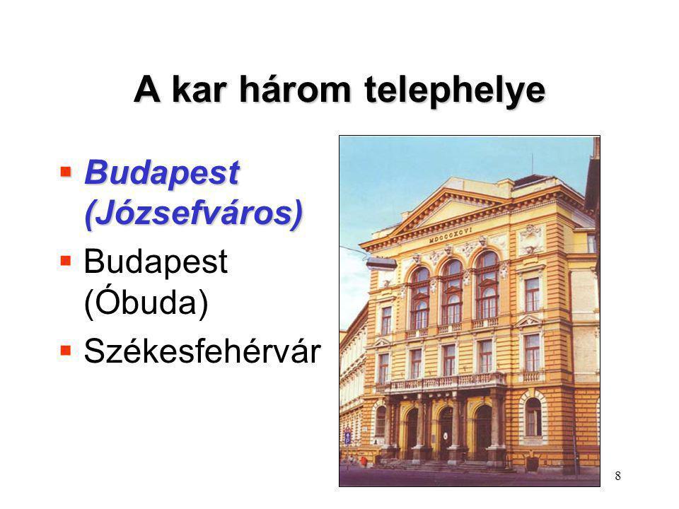 9 A kar három telephelye  Budapest (Józsefváros)  Budapest (Óbuda)  Székesfehérvár