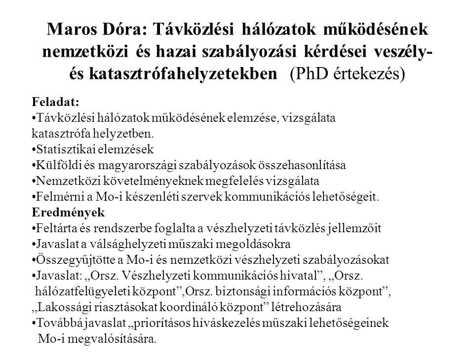Digitális jelfeldolgozó rendszerek stabilitás kérdései, megbízhatóság (Wührl Tibor-PhD.kutatási terület) Feladat: Pilóta nélküli repülőeszköz (Unmanned Air Vehicles) megbízhatósági kérdései Mikro UAV-k vezérlése, DSP-k hardver és szoftver stabilitása Redundáns, hibatűrő működésre képes hardverek kialakítása Szenzoroktól érkező mérési adatok feldolgozása Nemlineáris szabályzó körök vizsgálata MATLAB-al Szimulációval ellenőrzött algoritmus Számábrázolási pontatlanságokból eredő nemlineáris hatások kezelése.