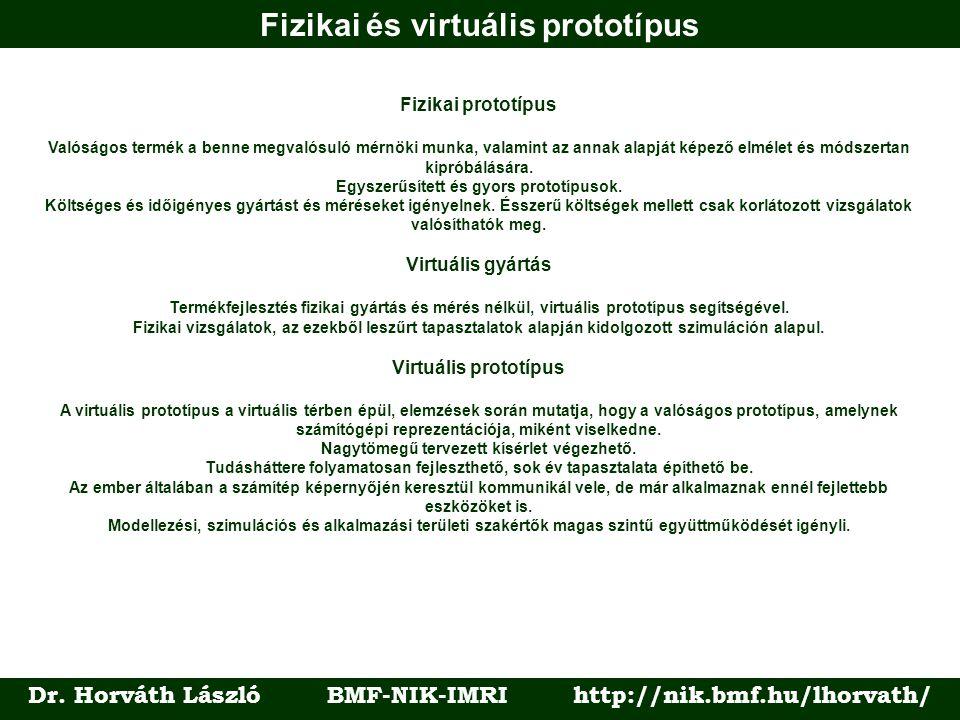 Dr. Horváth László BMF-NIK-IMRI http://nik.bmf.hu/lhorvath/ Fizikai prototípus Valóságos termék a benne megvalósuló mérnöki munka, valamint az annak a