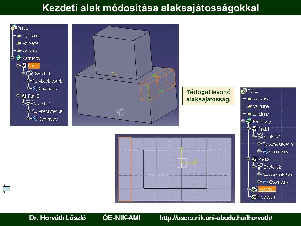 Kezdeti alak módosítása alaksajátosságokkal Térfogat levonó alaksajátosság. Dr. Horváth László ÓE-NIK-AMI http://users.nik.uni-obuda.hu/lhorvath/