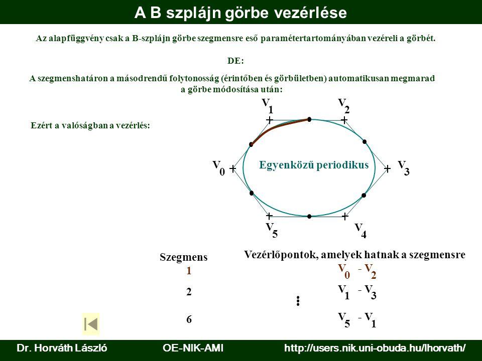 A B szplájn görbe vezérlése V 0 V 1 V 2 V 3 V 4 V 5 Szegmens Vezérlőpontok, amelyek hatnak a szegmensre 1 V 0 -V 2 2 V 1 -V 3 6 V 5 -V 1 Egyenközű periodikus A szegmenshatáron a másodrendű folytonosság (érintőben és görbületben) automatikusan megmarad a görbe módosítása után: Az alapfüggvény csak a B-szplájn görbe szegmensre eső paramétertartományában vezéreli a görbét.