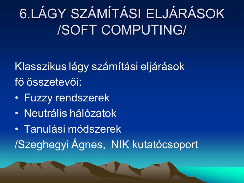 6.LÁGY SZÁMÍTÁSI ELJÁRÁSOK /SOFT COMPUTING/ Klasszikus lágy számítási eljárások fő összetevői: Fuzzy rendszerek Neutrális hálózatok Tanulási módszerek