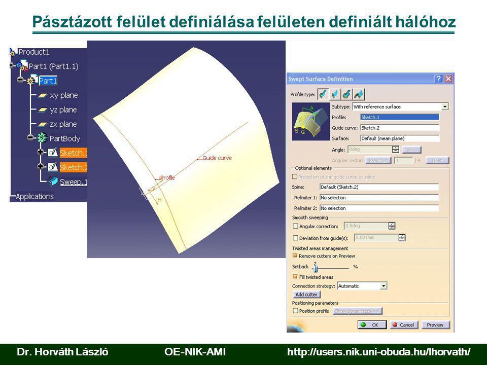 Pásztázott felület definiálása felületen definiált hálóhoz Dr. Horváth László OE-NIK-AMI http://users.nik.uni-obuda.hu/lhorvath/