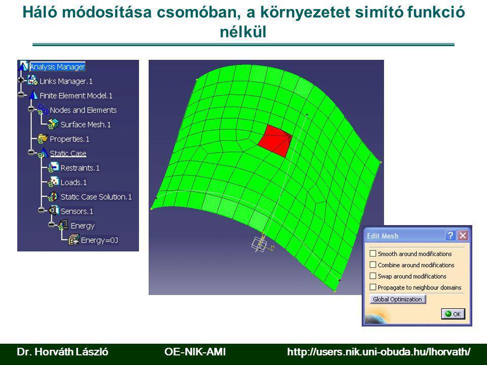 Háló módosítása csomóban, a környezetet simító funkció nélkül Dr. Horváth László OE-NIK-AMI http://users.nik.uni-obuda.hu/lhorvath/