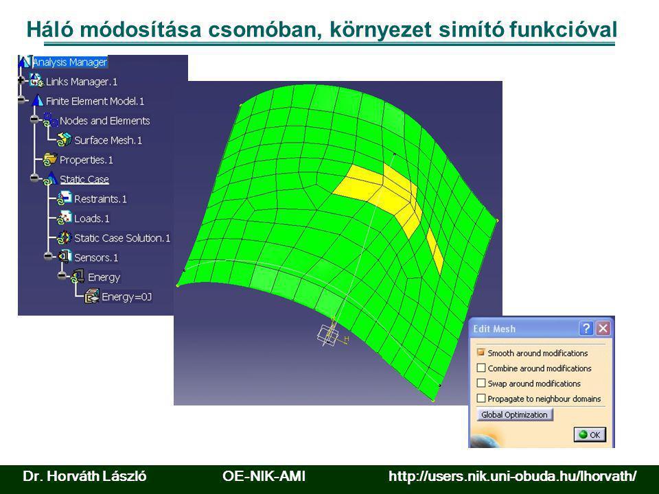 Háló módosítása csomóban, környezet simító funkcióval Dr. Horváth László OE-NIK-AMI http://users.nik.uni-obuda.hu/lhorvath/