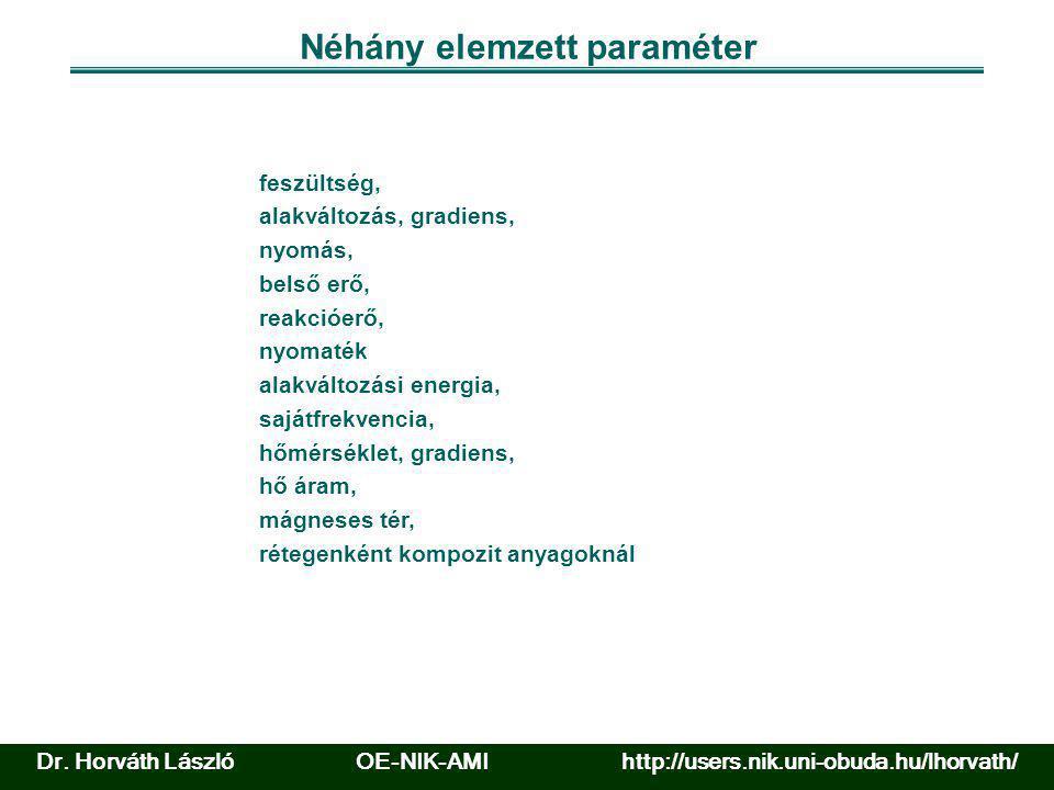 Néhány elemzett paraméter feszültség, alakváltozás, gradiens, nyomás, belső erő, reakcióerő, nyomaték alakváltozási energia, sajátfrekvencia, hőmérsék