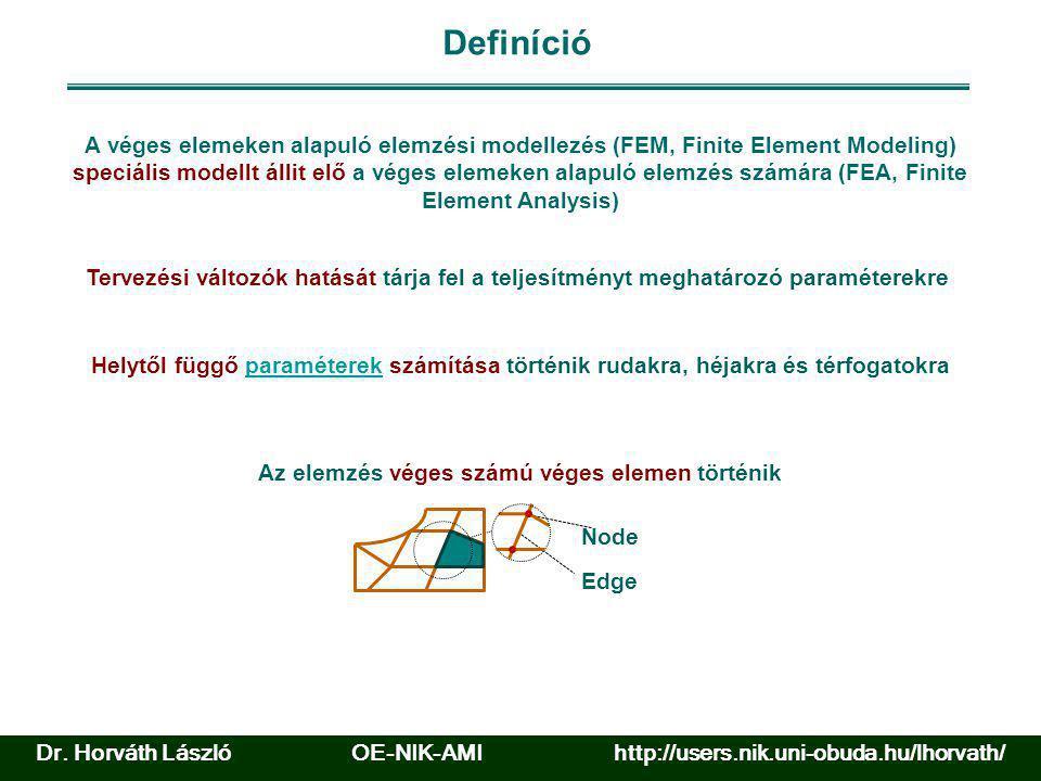 Fő sajátosságok A véges elem analízis egy numerikus módszer, amelynél hálóban elhelyezett véges elemekkel való közelítést alkalmaznak.