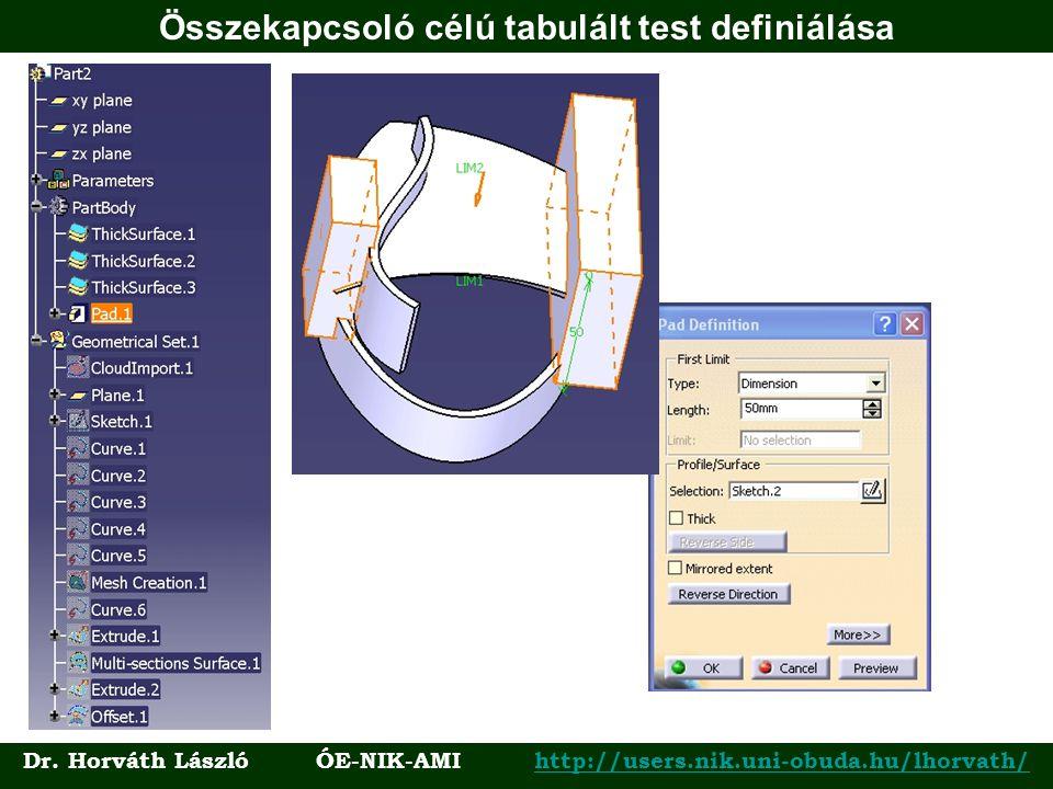 Összekapcsoló célú tabulált test definiálása Dr. Horváth László ÓE-NIK-AMI http://users.nik.uni-obuda.hu/lhorvath/http://users.nik.uni-obuda.hu/lhorva