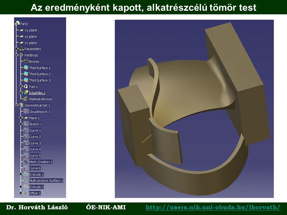 Az eredményként kapott, alkatrészcélú tömör test Dr. Horváth László ÓE-NIK-AMI http://users.nik.uni-obuda.hu/lhorvath/http://users.nik.uni-obuda.hu/lh