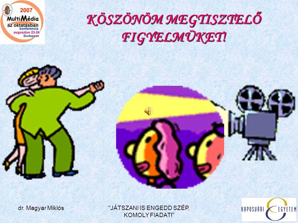 dr. Magyar Miklós JÁTSZANI IS ENGEDD SZÉP, KOMOLY FIADAT! KÖSZÖNÖM MEGTISZTELŐ FIGYELMÜKET!