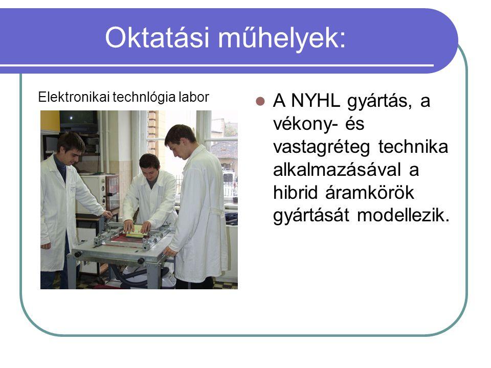 Oktatási műhelyek: Elektronikai technlógia labor A NYHL gyártás, a vékony- és vastagréteg technika alkalmazásával a hibrid áramkörök gyártását modelle