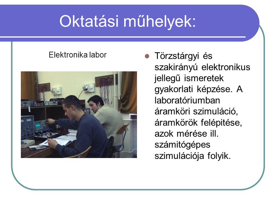 Oktatási műhelyek: Elektronika labor Törzstárgyi és szakirányú elektronikus jellegű ismeretek gyakorlati képzése. A laboratóriumban áramköri szimuláci