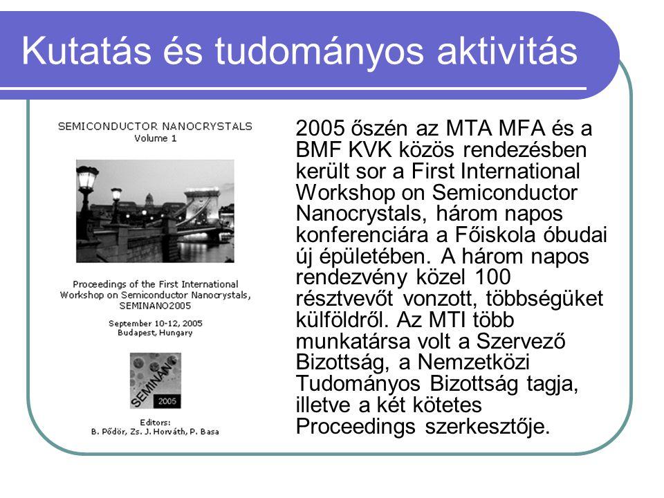 Kutatás és tudományos aktivitás 2005 őszén az MTA MFA és a BMF KVK közös rendezésben került sor a First International Workshop on Semiconductor Nanocr