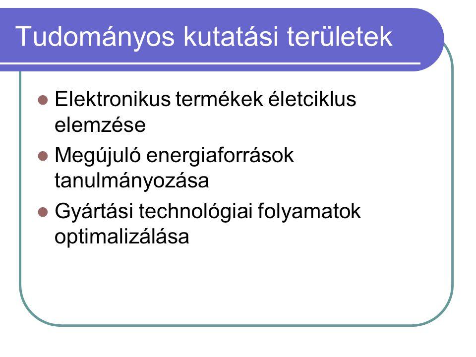 Tudományos kutatási területek Elektronikus termékek életciklus elemzése Megújuló energiaforrások tanulmányozása Gyártási technológiai folyamatok optim