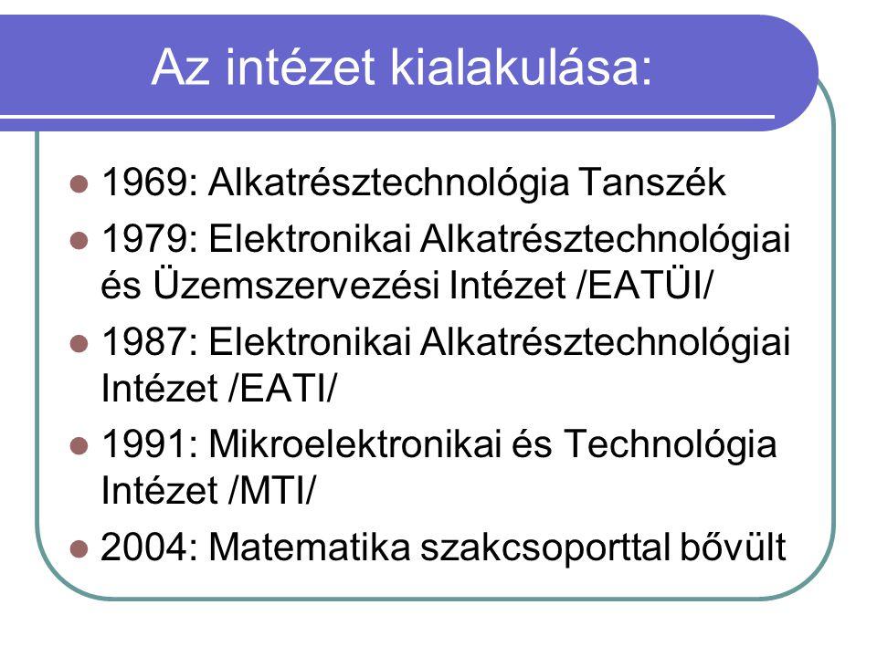 Az intézet kialakulása: 1969: Alkatrésztechnológia Tanszék 1979: Elektronikai Alkatrésztechnológiai és Üzemszervezési Intézet /EATÜI/ 1987: Elektronik