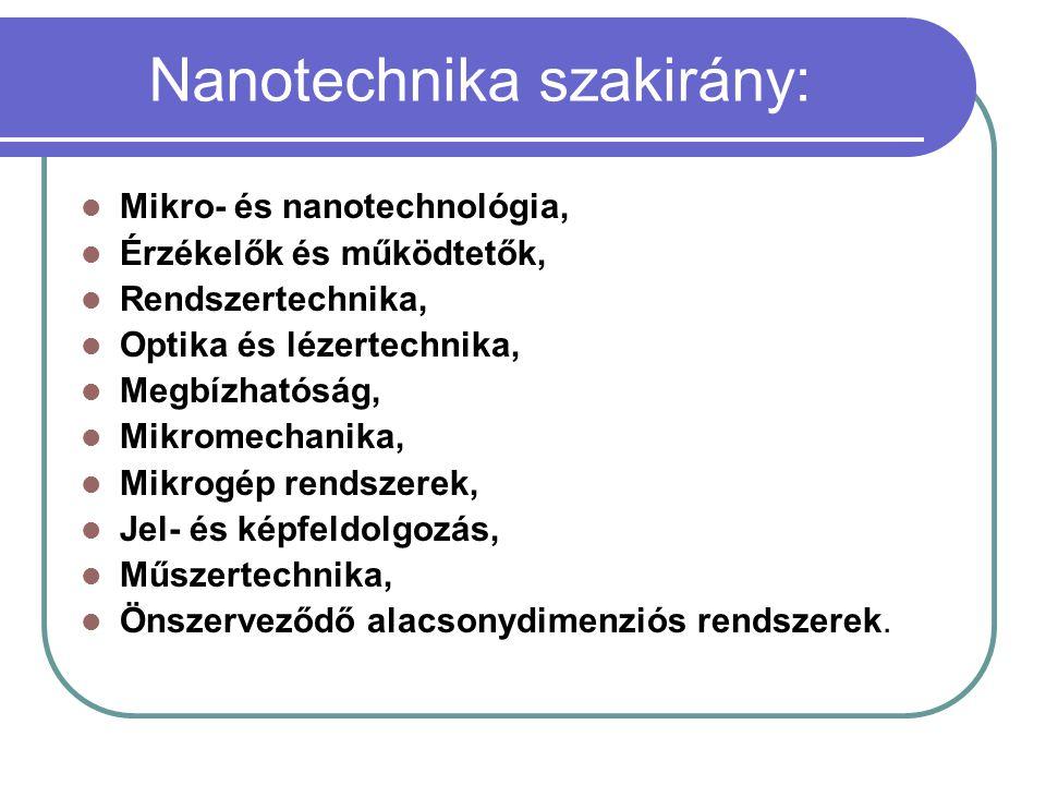 Nanotechnika szakirány: Mikro- és nanotechnológia, Érzékelők és működtetők, Rendszertechnika, Optika és lézertechnika, Megbízhatóság, Mikromechanika,