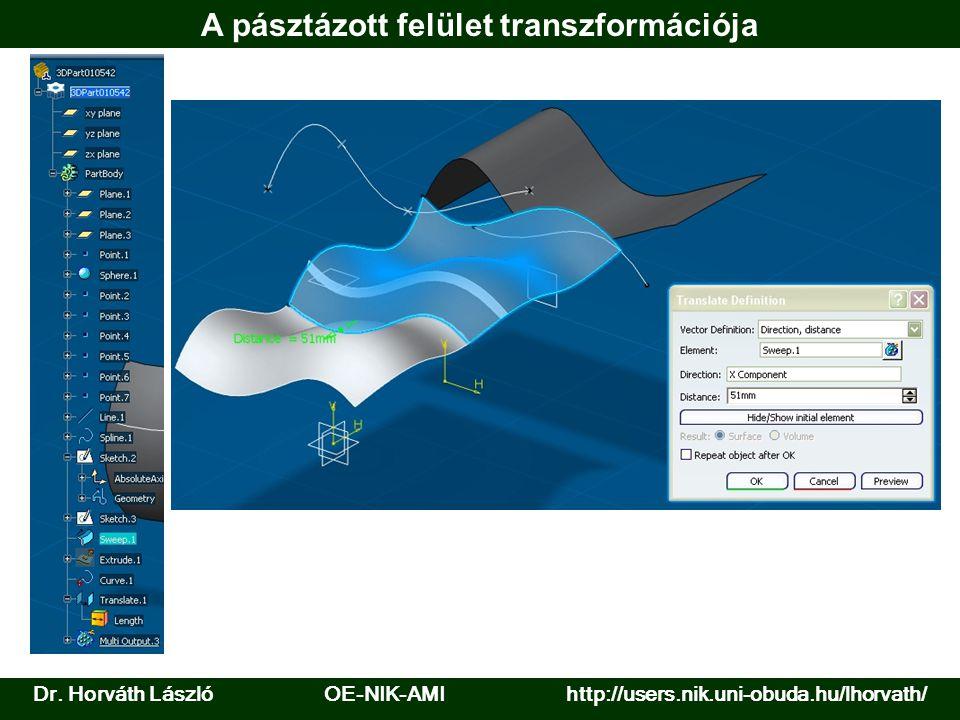Dr. Horváth László OE-NIK-AMI http://users.nik.uni-obuda.hu/lhorvath/ A pásztázott felület transzformációja