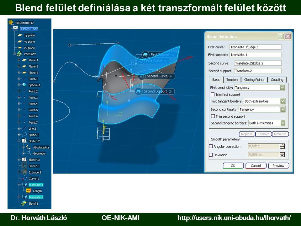Dr. Horváth László OE-NIK-AMI http://users.nik.uni-obuda.hu/lhorvath/ Blend felület definiálása a két transzformált felület között
