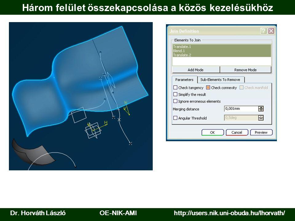 Dr. Horváth László OE-NIK-AMI http://users.nik.uni-obuda.hu/lhorvath/ Három felület összekapcsolása a közös kezelésükhöz