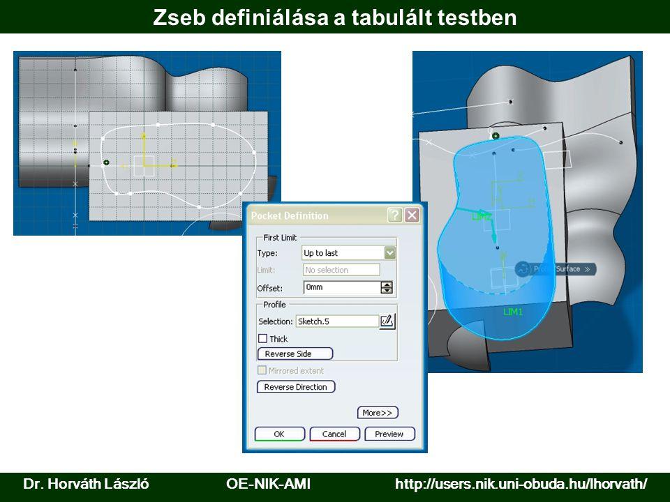 Dr. Horváth László OE-NIK-AMI http://users.nik.uni-obuda.hu/lhorvath/ Zseb definiálása a tabulált testben