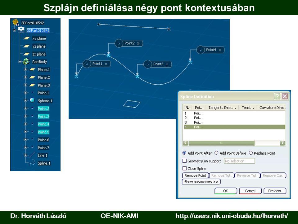 Dr. Horváth László OE-NIK-AMI http://users.nik.uni-obuda.hu/lhorvath/ Szplájn definiálása négy pont kontextusában